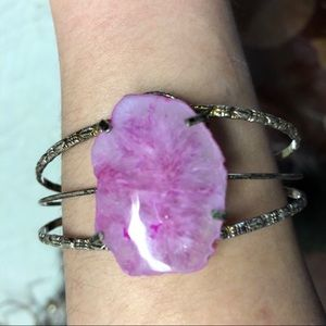 Pink purple silver bracelet
